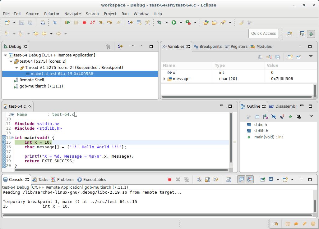 Eclipse remote development and debugging - 96Boards